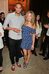 JAKE MORANT and CHELSEA LEYLAND at the Creme de la Mer Blue Marine Foundation Dinner held at The Arts Club, 40 Dover Street, London on 23rd June 2015.