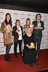 Left to right, Finalists HELEN MACDONALD, ALI SMITH, KATE SAUNDERS (seated) EMMA HEALEY and JONATHAN EDWARDS at the 2014 Costa Book of The Year Awards held at Quaglino's, Bury Street, London on 27th January 2015.  The winner of the Book of The Year was Helen Macdonald for her book H is for Hawk.