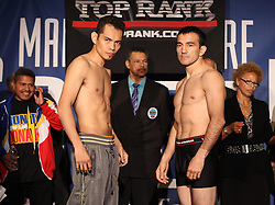 October 21, 2011; New York, NY; USA; Nonito Donaire and Omar Narvaez weigh-in for their upcoming fight at Madison Square Garden.