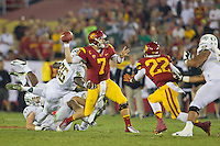 03 November 2012: Quarterback (7) Matt Barkley of the USC Trojans passes the ball against the Oregon Ducks during the second half of Oregon's  62-51victory over USC at the Los Angeles Memorial Coliseum in Los Angeles, CA.