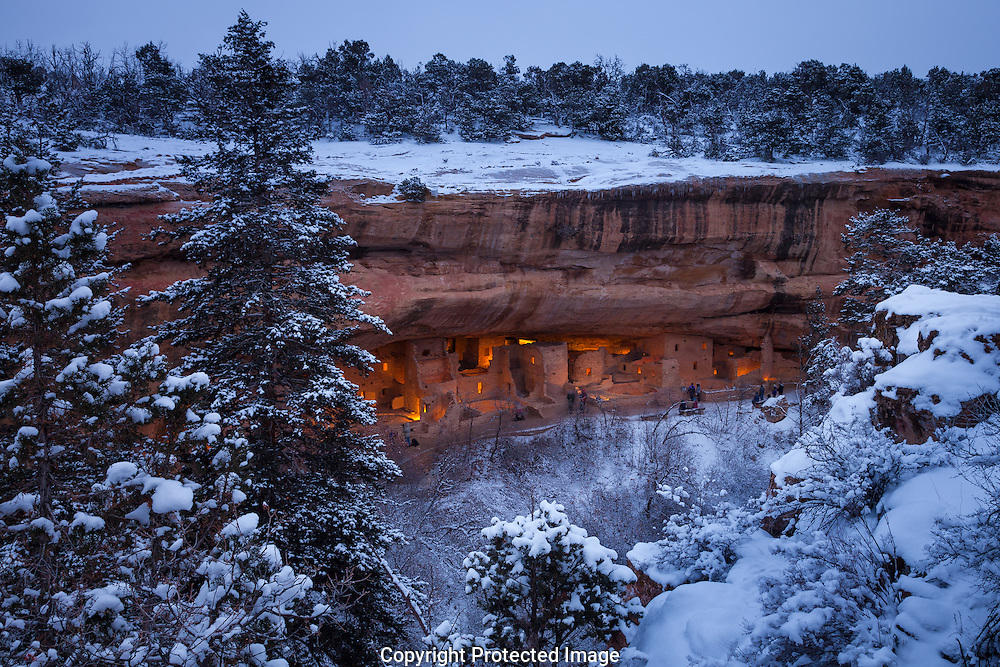 Mesa Verde National Park, Spruce Tree House, Holiday luminarias, Christmas, snow, Colorado,