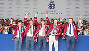 Henley on Thames, England, United Kingdom, 7th July 2019, Henley Royal Regatta, winners of the Price Albert Challenge Cup, Harvard University, U.S.A..,  Prize Giving ceremony,  Henley Reach, [© Peter SPURRIER/Intersport Image]<br /> <br /> 17:50:26 1919 - 2019, Royal Henley Peace Regatta Centenary,