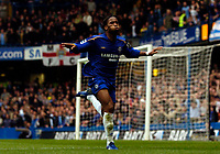 Photo: Alan Crowhurst.<br />Chelsea v Manchester City. The Barclays Premiership. 25/03/2006. Didier Drogba celebrates his second for Chelsea.