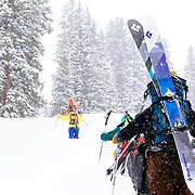 Skiers blaze a bootpack in the backcountry near Jackson Hole Mountain Resort.