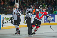 KELOWNA, CANADA - NOVEMBER 11: Referee Mike Campbell calls a goal after a review of play tying the game 1-1 in the third period for the Kelowna Rockets against the Vancouver Giants on November 11, 2015 at Prospera Place in Kelowna, British Columbia, Canada.  (Photo by Marissa Baecker/Getty Images)  *** Local Caption *** Mike Campbel;