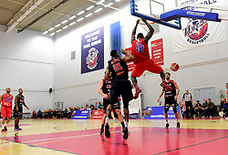 Daniel Edozie of Bristol Flyers score a slam dunk  - Photo mandatory by-line: Joe Meredith/JMP - Mobile: 07966 386802 - 12/02/2016 - BASKETBALL - SGS Wise Arena - Bristol, England - Bristol Flyers v Leicester Riders - British Basketball League
