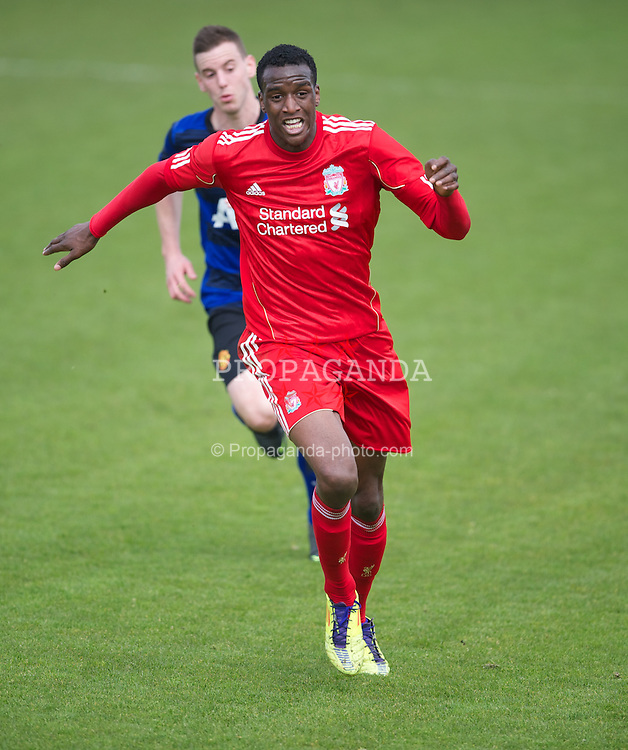 KIRKBY, ENGLAND - Thursday, April 19, 2012: Liverpool's Michael Ngoo in action against Manchester United during the FA Premier Reserve League match at the Kirkby Academy. (Pic by David Rawcliffe/Propaganda)