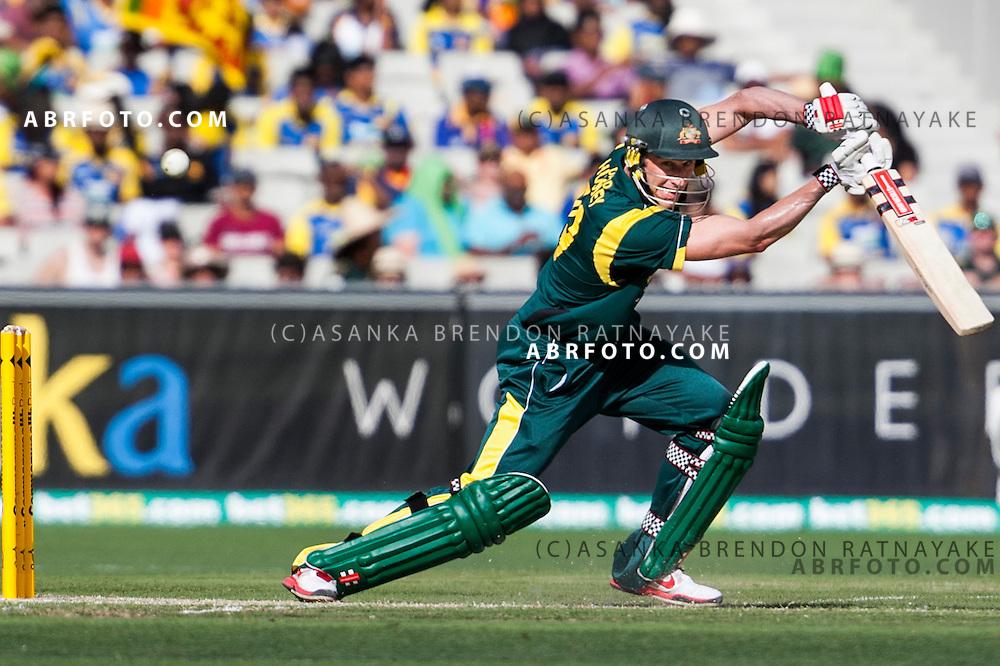 David Hussey batting during game 1 of the Commonwealth Bank Series Australia v Sri Lanka played at the Melbourne Cricket Ground in Melbourne,Victoria, Australia. Photo Asanka Brendon Ratnayake