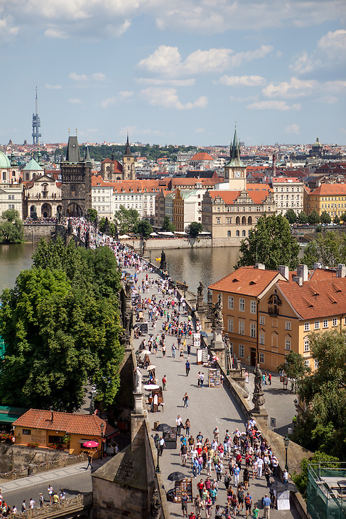 "Charles Bridge seen from the ""Lesser Town"" (Mala Strana) side into direction of the Prague city center. On the right side Kampa Island."