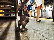 """Life Underground"" - sculptures by Tom Otterness in the 14th St. and 8th Avenue subway station."