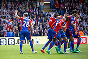 Crystal palace players celebrates a goal from Crystal palace midfielder Luka Milivojevic (score 3-0) during the Premier League match between Crystal Palace and Hull City at Selhurst Park, London, England on 14 May 2017. Photo by Andy Walter.