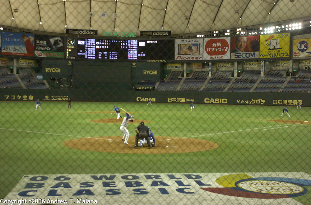 General view from home plate as Team Korea and Team Chinese Taipei play the opening game of the World Baseball Classic at Tokyo Dome, Tokyo, Japan.