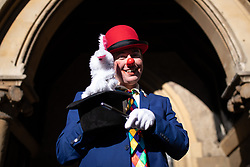 """© Licensed to London News Pictures. 03/02/2019. London, UK. Clowns attend the Grimaldi Church Service at All Saints Church in Haggerston. The service commemorates the """"father"""" of the modern clown, Joseph Grimaldi. Photo credit : Tom Nicholson/LNP"""