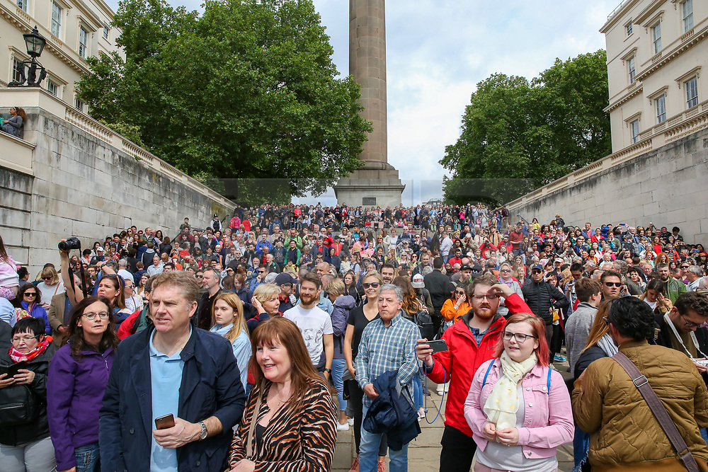 © Licensed to London News Pictures. 08/06/2019. London, UK. Large crowd gathers to watch the arrivals of the Royal family to Horse Guards Parade for the Trooping the Colour ceremony to marks the 93rd birthday of Queen Elizabeth II, Britain's longest reigning monarch. Photo credit: Dinendra Haria/LNP