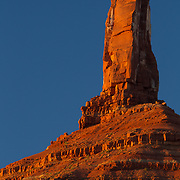 One of the tower formations in Castle Valley near Moab, Utah at sunset.