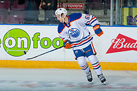PENTICTON, CANADA - SEPTEMBER 9: Ethan Szypula #68 of Edmonton Oilers warms up with the puck against the Winnipeg Jets on September 9, 2017 at the South Okanagan Event Centre in Penticton, British Columbia, Canada.  (Photo by Marissa Baecker/Shoot the Breeze)  *** Local Caption ***