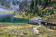 The Chain Lakes Trail weaves through the Heather Meadows area at Bagley Lakes.  Once you cross the stone bridge over Bagley Creek the trail winds around the side of Mount Herman, up to Herman Saddle, and beyond.  Photographed from the Chain Lakes Trail in the Mount Baker-Snoqualmie National Forest, Washingon State, USA.
