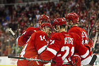 March 23, 2014: Detroit Red Wings forward Gustav Nyquist, of Sweden, (14) celebrates with teammates forward Tomas Tatar, of Slovakia, (21) and forward Riley Sheahan (15) after Nyquist scored his second goal of the game during a regular season NHL Eishockey Herren USA hockey game between the Minnesota Wild and the Detroit Red Wings played at Joe Louis Arena in Detroit, Michigan. NHL Eishockey Herren USA MAR 23 Wild at Red Wings <br />