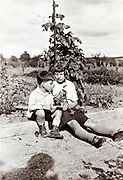younger brother with elder sister siting in garden studying a plant