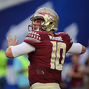 Florida State Seminoles quarterback Sean Maguire (10) is seen during an NCAA football game between the Ole Miss Rebels and the Florida State Seminoles at Camping World Stadium on September 5, 2016 in Orlando, Florida. (Alex Menendez via AP)
