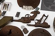 Tokyo, April 10 2014 - Rusted guns on display inside Yushukan, Yasukuni's war museum.