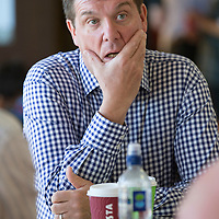 St Johnstone Manager Tommy Wright pictured this morning talking to reporters ahead of Thursday's second leg Uefa Qualifier  against Spartak Trnava in Slovakia....05.08.14<br /> Picture by Graeme Hart.<br /> Copyright Perthshire Picture Agency<br /> Tel: 01738 623350  Mobile: 07990 594431