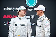 Mercedes Grand Prix W03 Launch with Michael Schumacher (GER) and Nico Rosberg (GER) on February 21, 2012: Formula One Testing, Circuit de Catalunya, Barcelona, Spain, World Copyright: Jamey Price