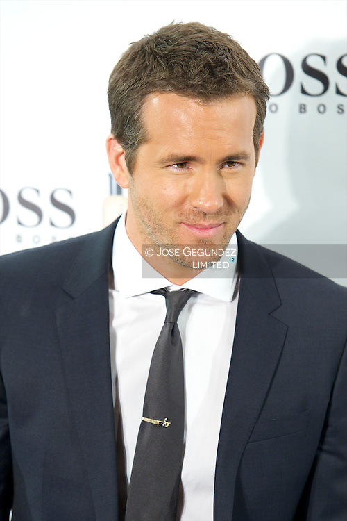 US Actor Ryan Reynolds presents 15th anniversary 'Boss Bottled' Fragrance at Eurostars Hotel on November 26, 2013 in Madrid