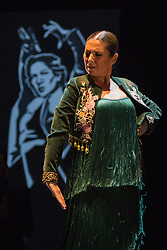 © Licensed to London News Pictures. 16/02/2016. London, UK. Pictured: Sra Baras. Ballet Flamenco Sara Baras perform the piece Soleá por bulería of from Voces, Suite Flamenca at the Flamenco Festival London 2016 at Sadler's Wells Theatre. The Festival runs from 16 to 28 February 2016. Photo credit : Bettina Strenske/LNP