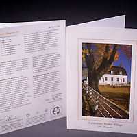 A beautiful fall scene at Canterbury Shaker Village.  Can you smell the freshly baked Shaker Pumpkin Pie in the crisp fall air?  Includes recipe and historical anecdotes. <br /> <br /> Artemis Photo Greeting Cards featuring NH native flora and fauna and historic sites. The cards are made exclusively in NH made from 100% FSC recycled paper, manufactured with wind and water power, and are archival acid free paper. Each card includes details on the back about the image, including interesting anecdotes, historic facts, conservation status, and recipes.