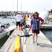 Skipper Sarah Everhart Skeels, (left), Tiverton, RI, and Cindy Walker, Middletown, RI, the only all female team competing in The Skud 18 class, on the dock before competition during the C. Thomas Clagett, Jr. Memorial Clinic & Regatta at Newport, Rhode Island hosted by Sail Newport at Fort Adams. <br /> The Clagett is North America's premier event for sailors with disabilities with sailors competing in the 3 Paralympic class boats and is an integral part of preparation for athletes preparing for  Paralympic and world championship racing. Newport, Rhode Island, USA. 26th June 2015. Photo Tim Clayton