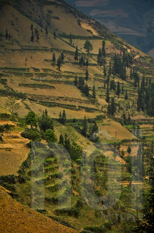 Mountainside in Bac Ha district, Lao Cai province, North Vietnam.