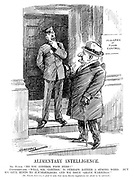 """Alimentary Intelligence. Mr Punch. """"Do you control food here?"""" Commissionaire. """"Well, sir, 'control' is perhaps rather a strong word. But we give hints to householders, and we issue 'grave warnings.'"""" [Mr Punch, however, is glad to note that more drastic regulations are about to be enforced.] (Mr Punch visits the Ministry of Food Control and speaks to a sergeant during WW1)"""