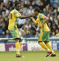 Photo: Aidan Ellis.<br /> Sheffield Wednesday v Norwich City. Coca Cola Championship. 06/05/2007.<br /> Norwich's Dickson Ethu congratulates Robert Earnshaw after his goal