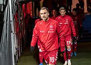 Christian Eriksen (Danmark) i spidsen for spillerne på vej ud til opvarmning før EM Kvalifikationskampen mellem Danmark og Gibraltar den 15. november 2019 i Telia Parken (Foto: Claus Birch).