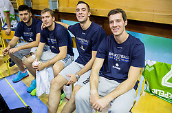 Tomaz Bolcina of Slovenia, Zoran Dragic of Slovenia, Mitja Nikolic of Slovenia and Goran Dragic of Slovenia during friendly basketball match between National teams of Slovenia and Georgia in day 2 of Adecco Cup 2014, on July 25, 2014 in Dvorana OS 1, Murska Sobota, Slovenia. Photo by Vid Ponikvar / Sportida.com