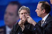 President and White House chief strategist Steve Bannon and White House Chief of Staff Reince Priebus talk at the CPAC, Conservative Political Action Conference.