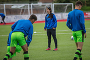 The team going through their warm up with Forest Green Rovers Academy physio Megan Hodun during the Pre-Season Friendly match between Worthing FC and Forest Green Rovers at Woodside Road, Worthing, Uni on 1 August 2017. Photo by Shane Healey.