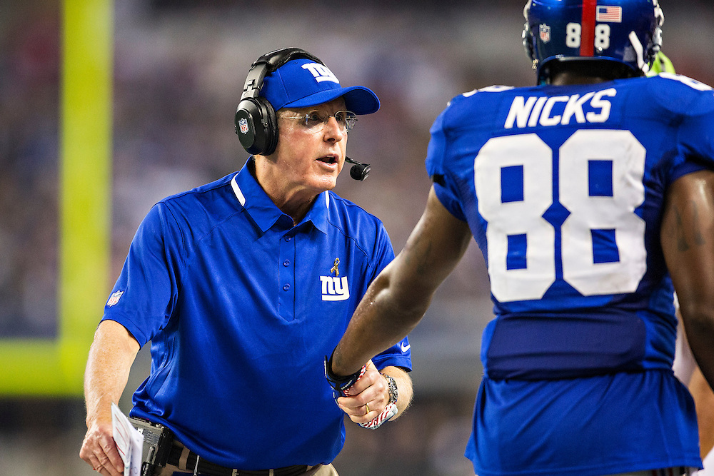 ARLINGTON, TX - SEPTEMBER 8:  Head Coach Tom Coughlin of the New York Giants on the sidelines during a game against the Dallas Cowboys at AT&T Stadium on September 8, 2013 in Arlington, Texas.  The Cowboys defeated the Giants 31-36.  (Photo by Wesley Hitt/Getty Images) *** Local Caption *** Tom Coughlin