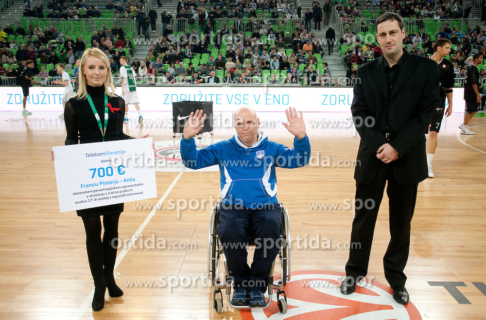 Donation of Telekom Slovenije for Franc Pinter - Anc during basketball match between KK Union Olimpija and Montepaschi Siena (ITA) of 7th Round in Group D of Regular season of Euroleague 2011/2012 on December 1, 2011, in Arena Stozice, Ljubljana, Slovenia. Sena defeated Union Olimpija 63-57. (Photo by Vid Ponikvar / Sportida)