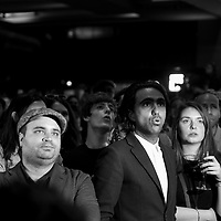 Soirée electorale au soir du 1er tour des présidentielle 2017 a la Maison de la Mutualité, QG de Benoit Hamon