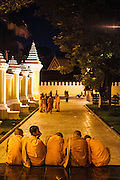 Monks at the park in front of Royal Palace, Phnom Penh