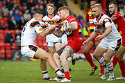 Bradford Bulls centre Vila Halafihi (26) in the tackle during the Kingstone Press Championship match between Dewsbury Rams and Bradford Bulls at the Tetley's Stadium, Dewsbury, United Kingdom on 10 September 2017. Photo by Simon Davies.