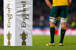 Australia Flanker Michael Hooper stands next to an England 2015 World Cup Final post pad - Mandatory byline: Rogan Thomson/JMP - 07966 386802 - 31/10/2015 - RUGBY UNION - Twickenham Stadium - London, England - New Zealand v Australia - Rugby World Cup 2015 FINAL.