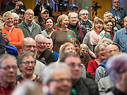 26 JANUARY 2020 - AMES, IOWA: People listen to and laugh at a joke by US Senator Amy Klobuchar during a campaign event in Ames. Sen. Klobuchar campaigned to support her candidacy for the US Presidency Sunday in central Iowa during the one day break from the impeachment trial of President Trump. She is trying to capitalize on her recent uptick in national polls. Iowa holds the first selection event of the presidential election cycle. The Iowa Caucuses are Feb. 3, 2020.     PHOTO BY JACK KURTZ