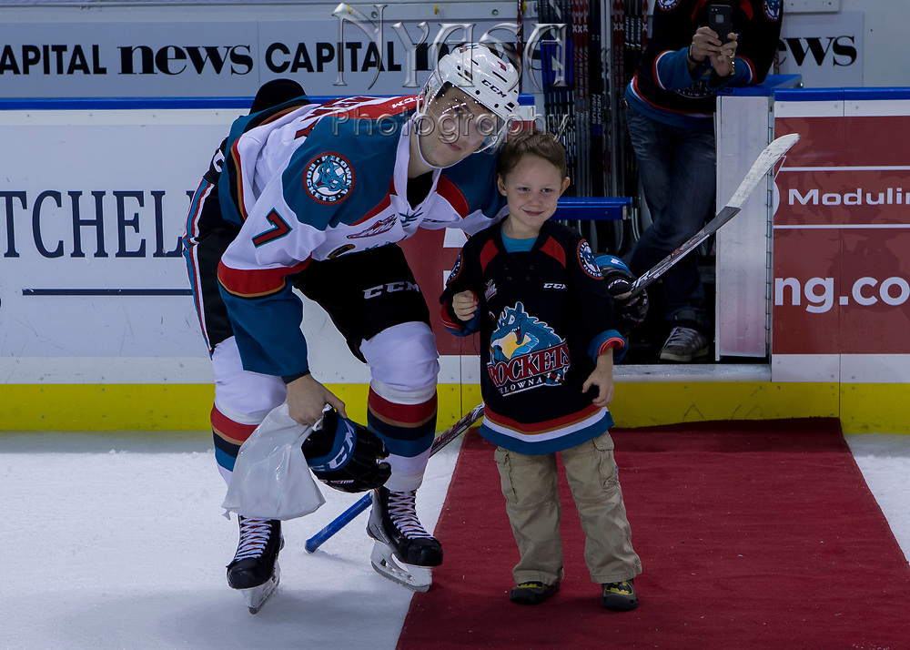 KELOWNA, CANADA - SEPTEMBER 29:  Third Star of the game Libor Zabransky #7 of the Kelowna Rockets at the Kelowna Rockets game on September 29, 2017 at Prospera Place in Kelowna, British Columbia, Canada.  (Photo By Cindy Rogers/Nyasa Photography,  *** Local Caption ***