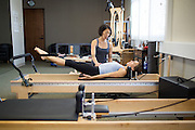 Pilates marketing photos with Lotus Studio owner Liz DeVera in Campbell, California, on August 19, 2014. (Stan Olszewski/SOSKIphoto)