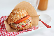Tuna salad sandwich with tomato