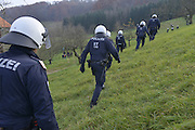 Nov. 11, 2015 - Wegscheid, Bavaria, Germany - GERMANY, Bavaria, Wegscheid; <br /> <br /> Austrian police deployed to try and hinder the meeting of a pro-refugee leftist group of marchers and an opposing rightist anti-immigration group.  A game of cat and mouse ensued through the steep vineyards of this alpine region on the border of the Slovenian town of Sentilj where a vast refugee processing centre has led to raised tensions around the issue.   <br /> ©Exclusivepix Media
