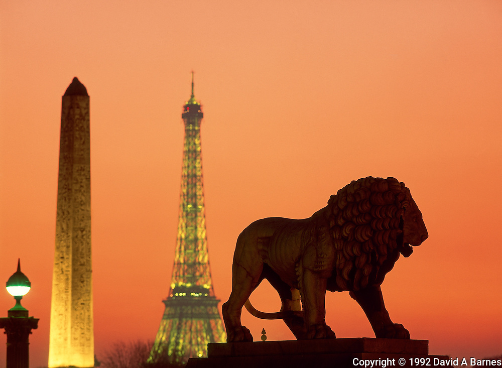 Place de la Concorde; lion, Eiffel Tower; Obelisk; Paris; France